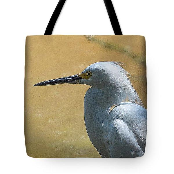 Egret Pose Tote Bag
