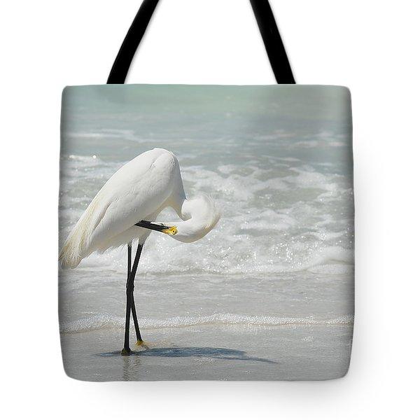 Egret Preening 6278 Tote Bag
