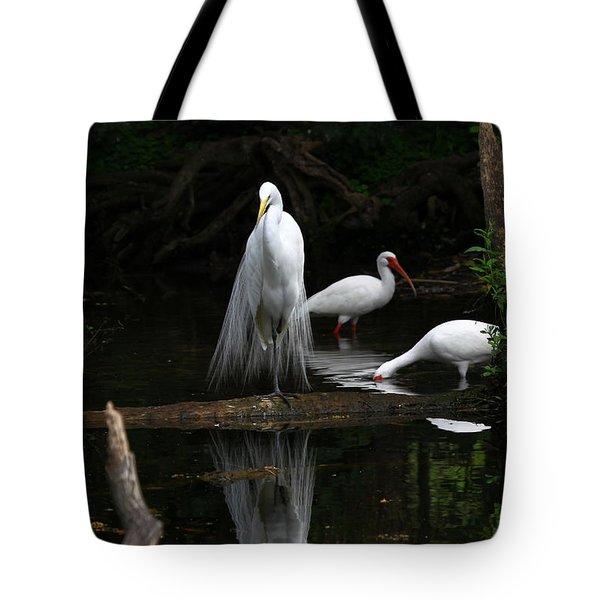 Egret Reflection Tote Bag
