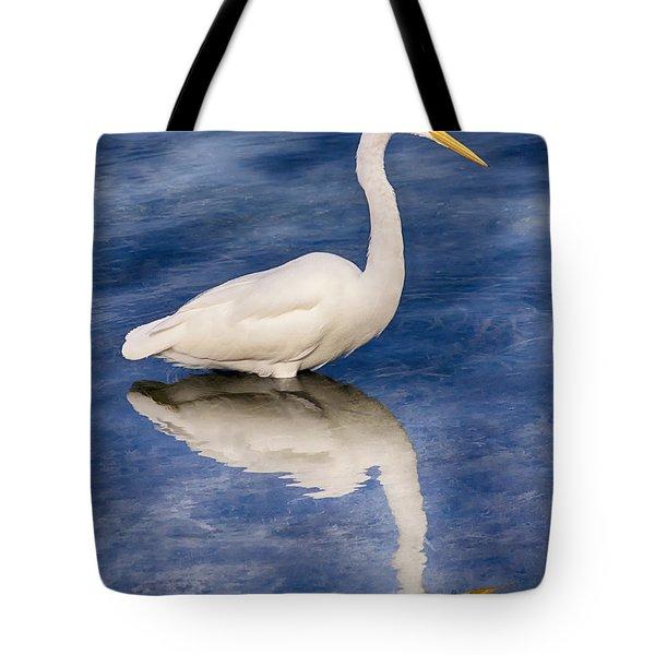 Egret Reflection On Blue Tote Bag