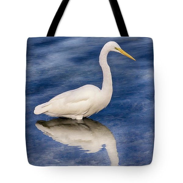 Egret Reflection On Blue Tote Bag