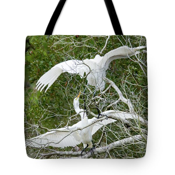 Tote Bag featuring the photograph Egret Rumble by George Randy Bass