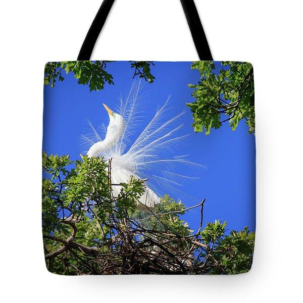 Egret Showing Off Tote Bag
