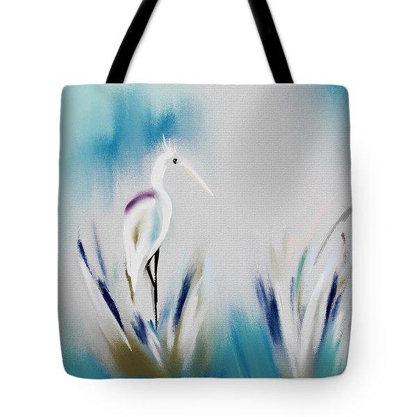 Egret Splash Tote Bag by Frank Bright