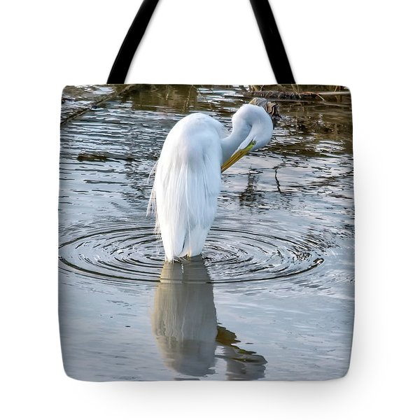 Egret Standing In A Stream Preening Tote Bag