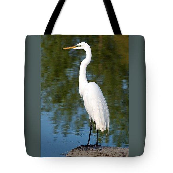 Egret Standing Tote Bag