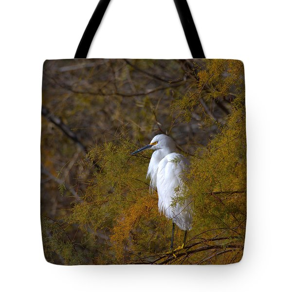 Egret Surrounded By Golden Leaves Tote Bag