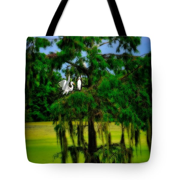 Tote Bag featuring the photograph Egret Tree by Harry Spitz