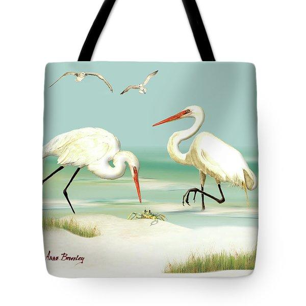Egrets Crabbing Tote Bag