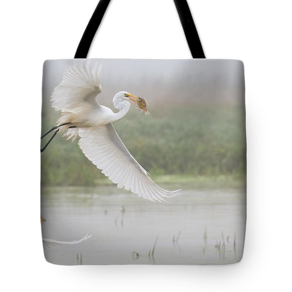 Egrets Fish Tote Bag by Kelly Marquardt