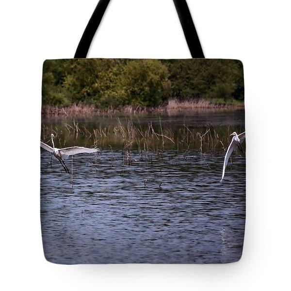 Egrets IIi Tote Bag by Gary Adkins