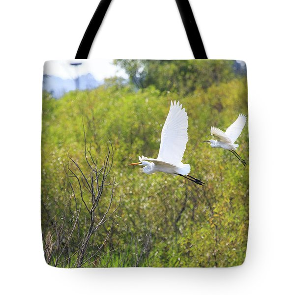 Tote Bag featuring the photograph Egrets In Flight by Jennifer Casey