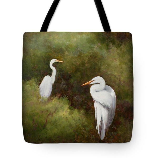 Egrets Roosting Tote Bag