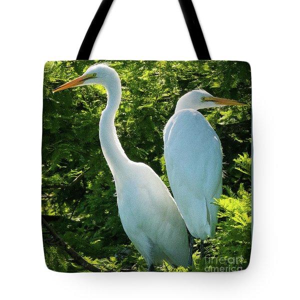 Egrets Sitting Around Tote Bag