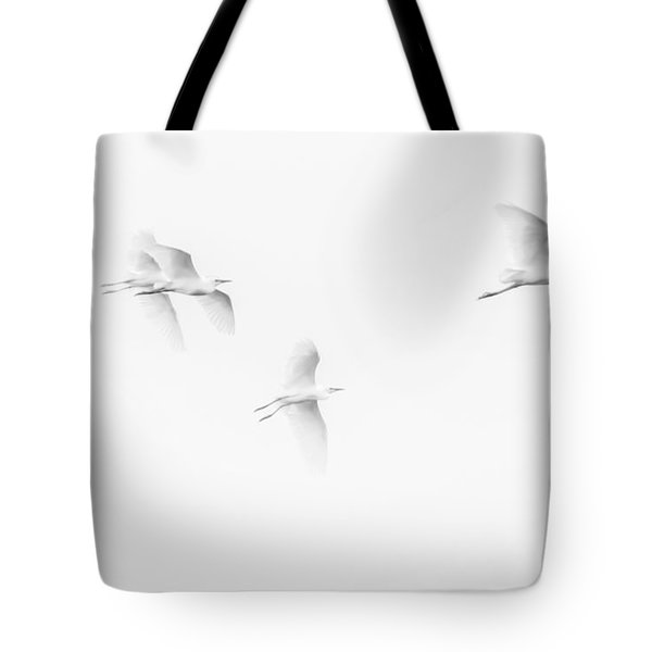 Egrets White On White B/w Tote Bag