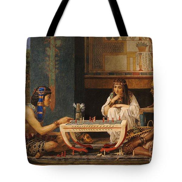 Egyptian Chess Players Tote Bag by Sir Lawrence Alma-Tadema