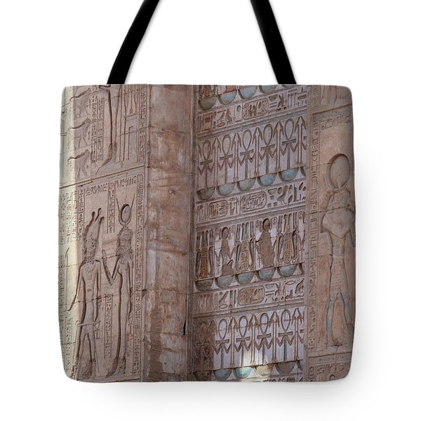 Tote Bag featuring the photograph Egyptian Hieroglyphs by Silvia Bruno