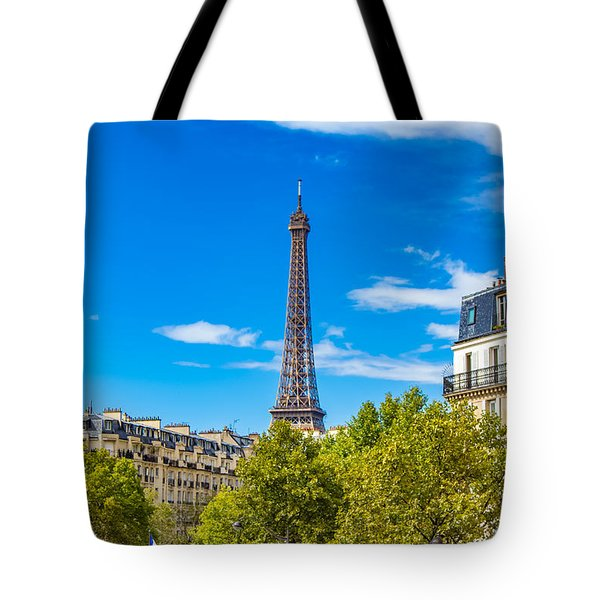 Tote Bag featuring the photograph Eiffel Around Town by Kim Wilson