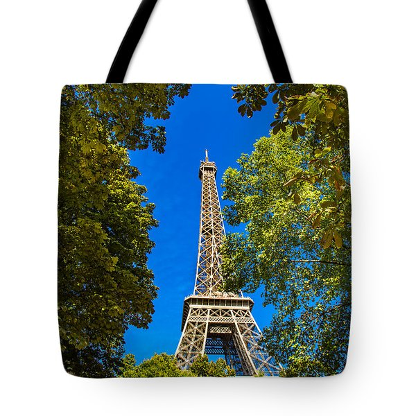 Tote Bag featuring the photograph Eiffel Hiding by Kim Wilson