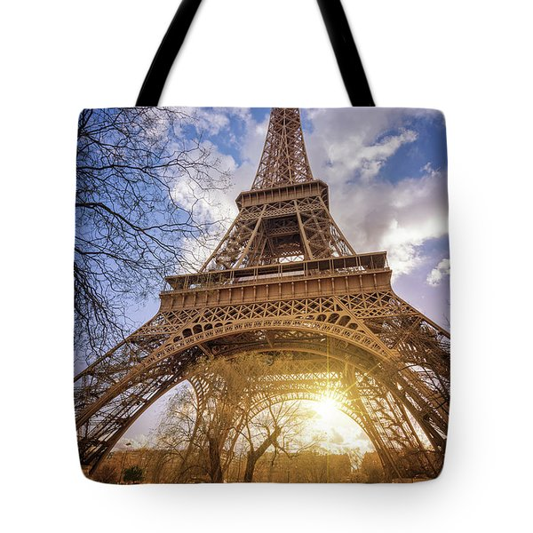 Tote Bag featuring the photograph Eiffel Sunset by Delphimages Photo Creations