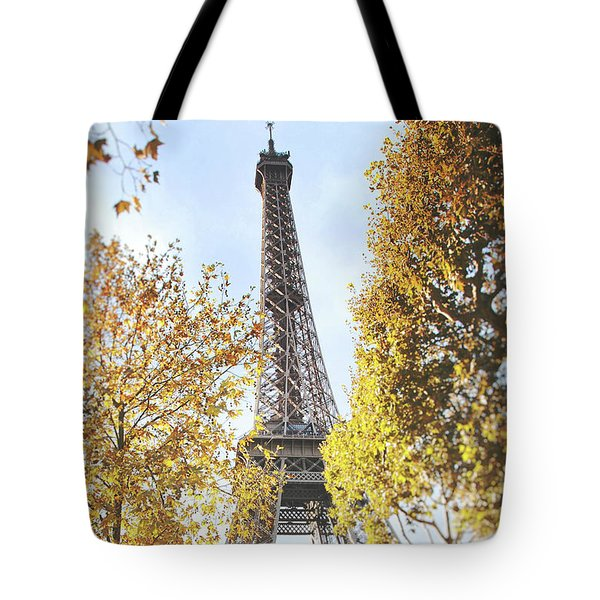 Tote Bag featuring the photograph Eiffel Tower Amidst The Autumn Foliage by Ivy Ho