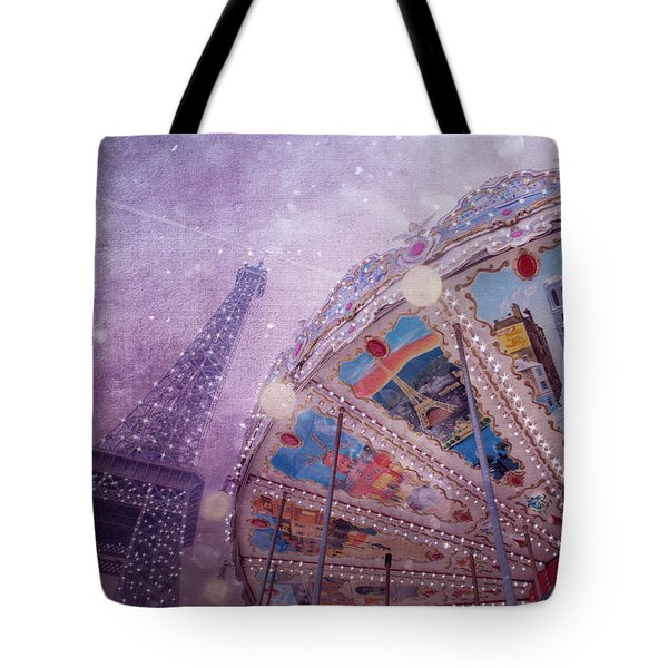 Tote Bag featuring the photograph Eiffel Tower And Carousel by Clare Bambers