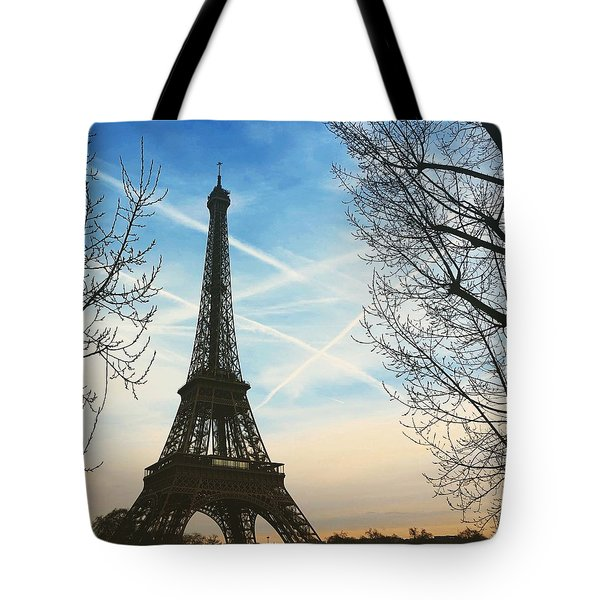 Eiffel Tower And Contrails Tote Bag