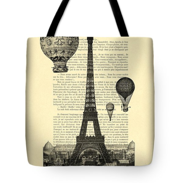 Eiffel Tower And Hot Air Balloons Tote Bag