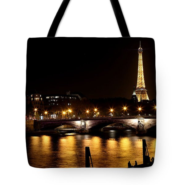 Tote Bag featuring the photograph Eiffel Tower At Night 1 by Andrew Fare