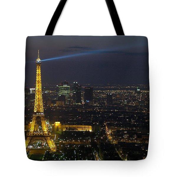 Eiffel Tower At Night Tote Bag by Sebastian Musial