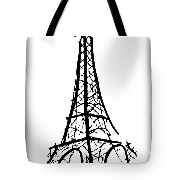 Eiffel Tower Black And White Tote Bag by Robyn Saunders