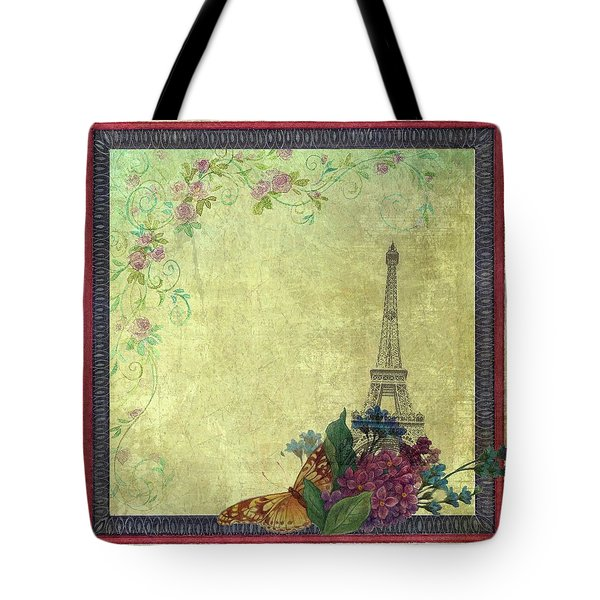 Eiffel Tower Faded Floral With Swirls Tote Bag