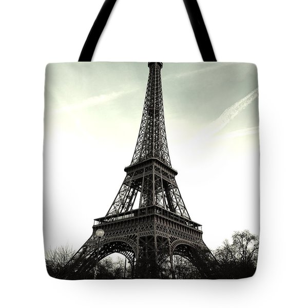 Eiffel Tower, Greyscale Tote Bag