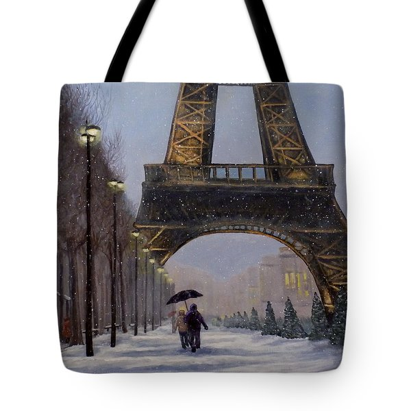 Eiffel Tower In The Snow Tote Bag