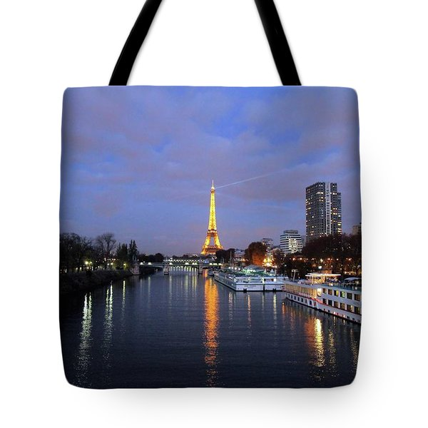 Eiffel Tower Over The Seine Tote Bag