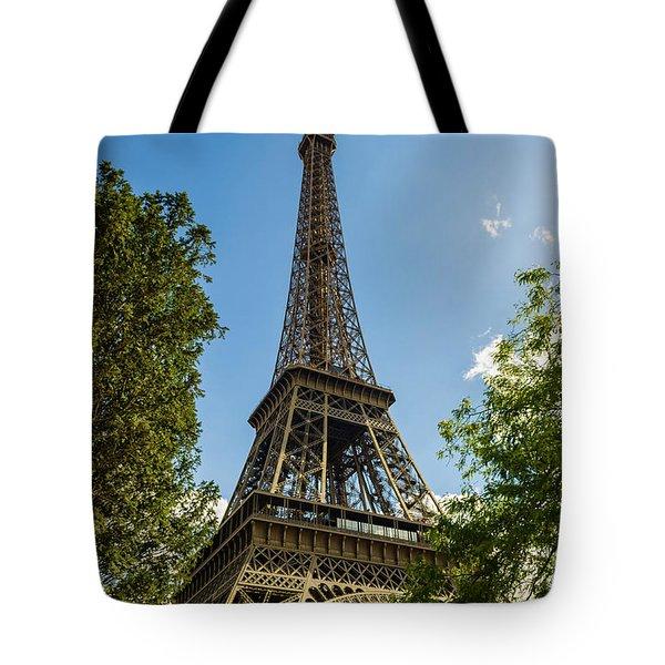 Eiffel Tower Through Trees Tote Bag