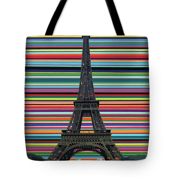 Tote Bag featuring the painting Eiffel Tower With Lines by Carla Bank