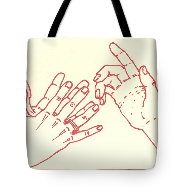 Tote Bag featuring the drawing Eighth Station- The Women Of Jerusalem Weep Over Jesus  by William Hart McNichols