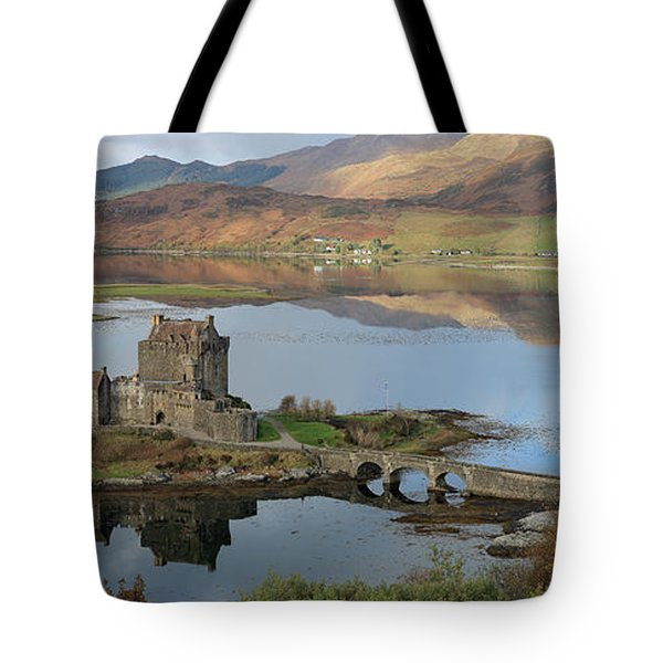 Eilean Donan Castle In Autumn - Panorama Tote Bag