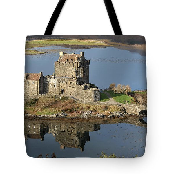 Tote Bag featuring the photograph Eilean Donan Castle Reflections by Maria Gaellman