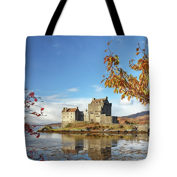 Eilean Donan In Autumn Tote Bag by Grant Glendinning