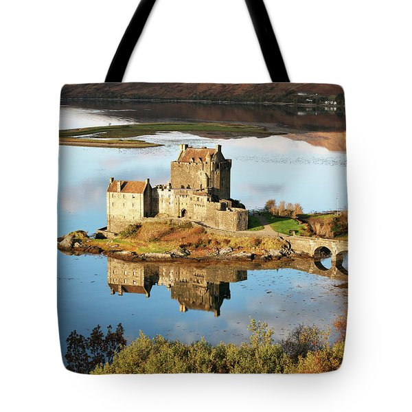 Eilean Donan - Loch Duich Reflection - Skye And Lochalsh Tote Bag by Grant Glendinning