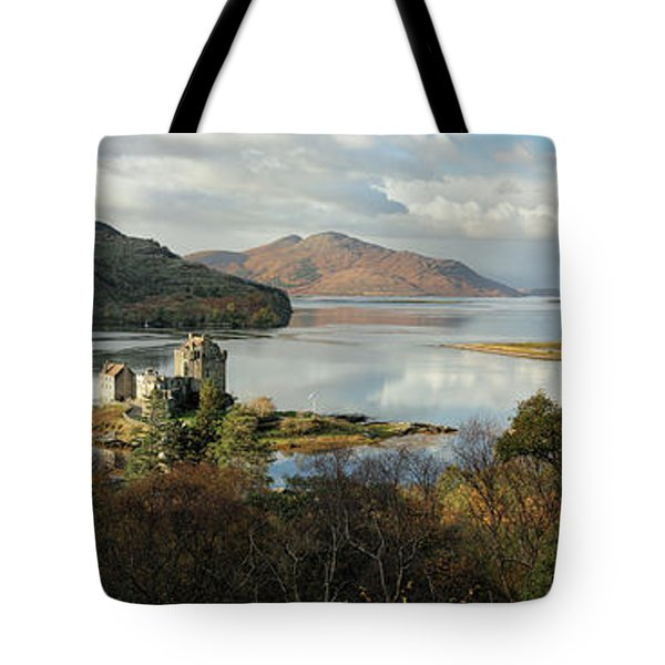 Eilean Donan Panorama - Autumn Tote Bag by Grant Glendinning