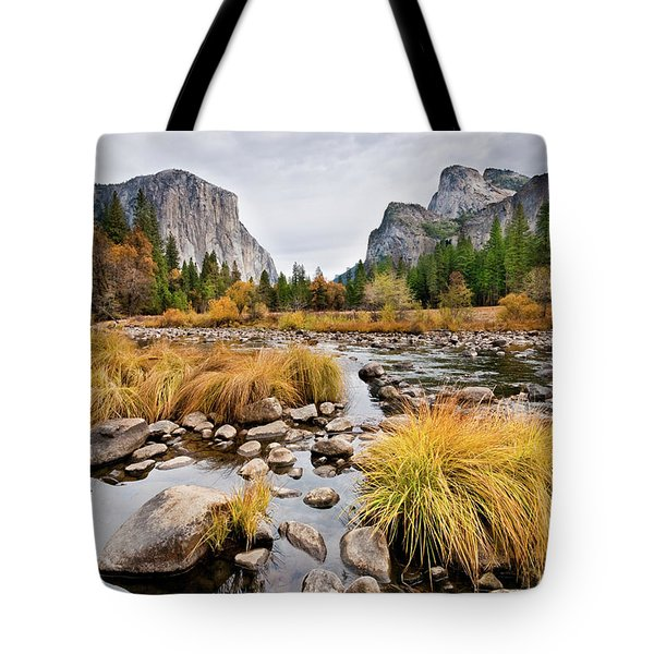 El Capitan And The Merced River In The Fall Tote Bag