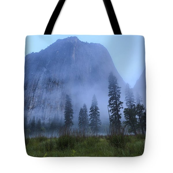 El Capitan In Fog Tote Bag