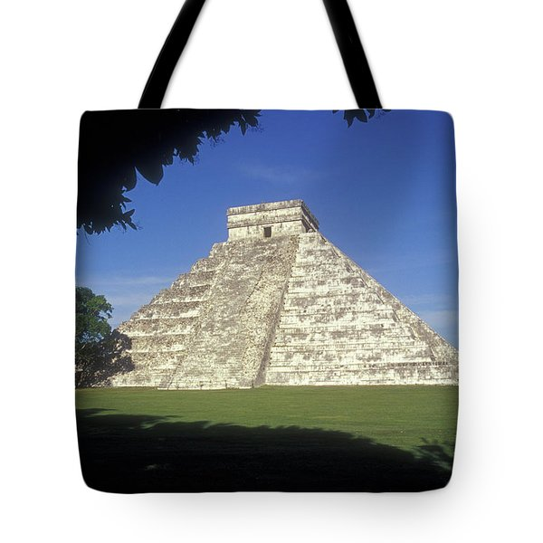 El Castillo Framed By Trees Chichen Itza Mexico Tote Bag