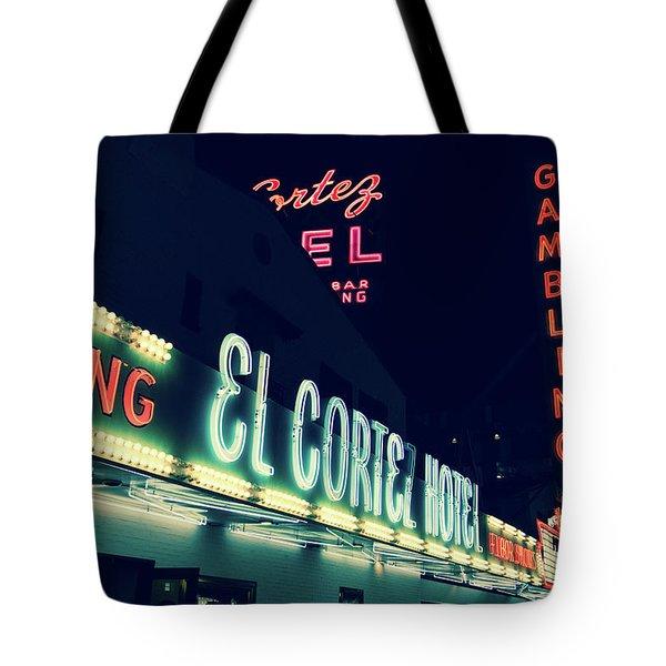 El Cortez Hotel At Night Tote Bag