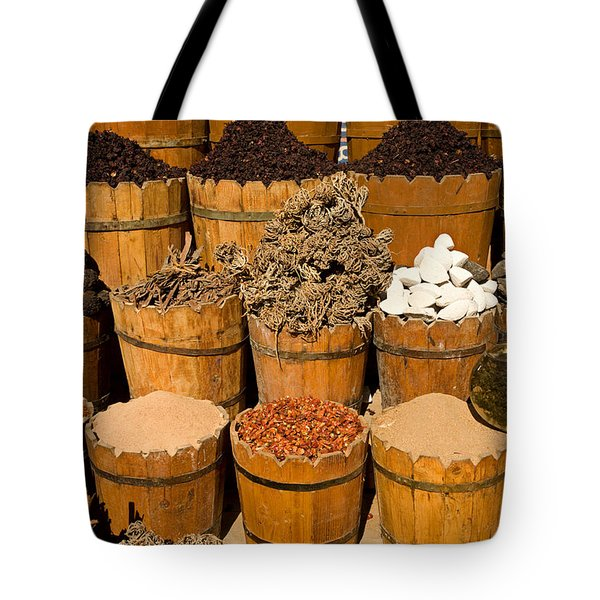 El Dahar Market Spices Tote Bag by Aivar Mikko