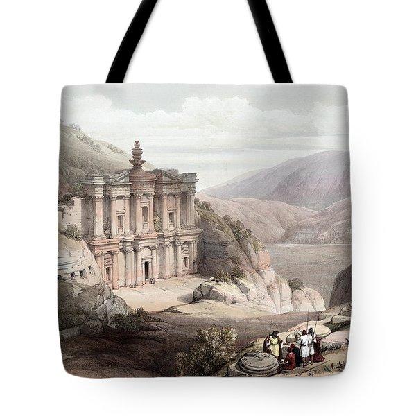 El Deir Petra 1839 Tote Bag by Munir Alawi