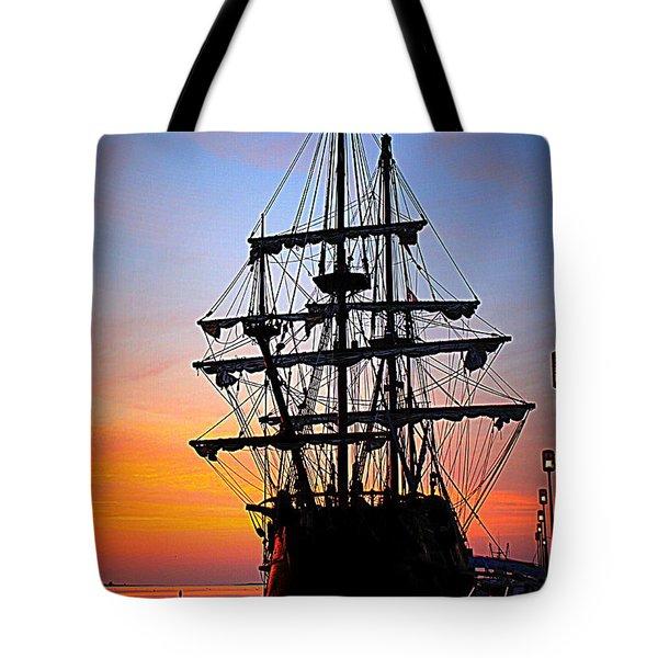 El Galeon At Sunrise Tote Bag
